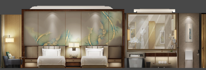 安徽喜来登酒店丨效果图+全套CAD施工图+硬装物料+软装物料_6673011_双床立面.jpg
