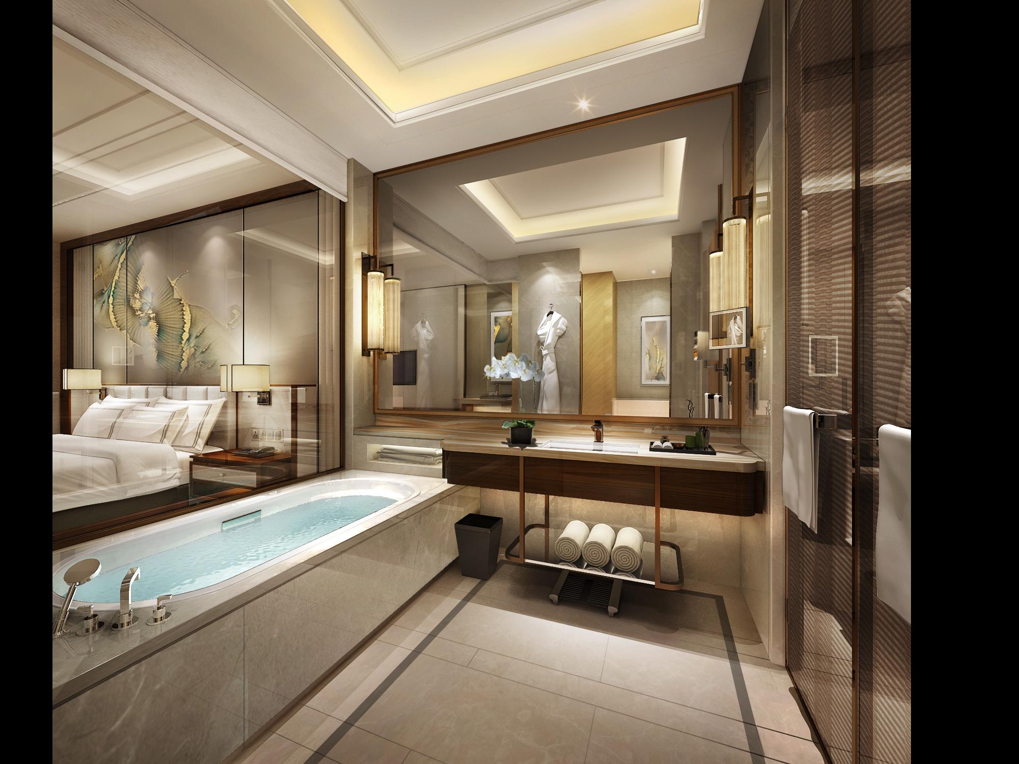 安徽喜来登酒店丨效果图+全套CAD施工图+硬装物料+软装物料_6673006_04大床房卫生间.jpg